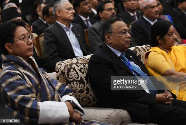 Bhutanese Foreign Minister Damcho Dorji Bangladeshi Foreign Minister Abul Hassan Mahmood Ali and Indian Foreign Minister Sushma Swaraj attend the...