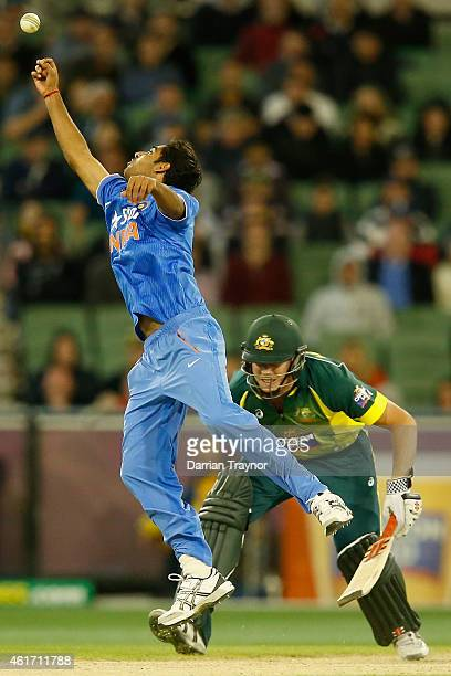 Bhuvneshwar Kumar of India attempts to stop the ball during the One Day International match between Australia and India at Melbourne Cricket Ground...