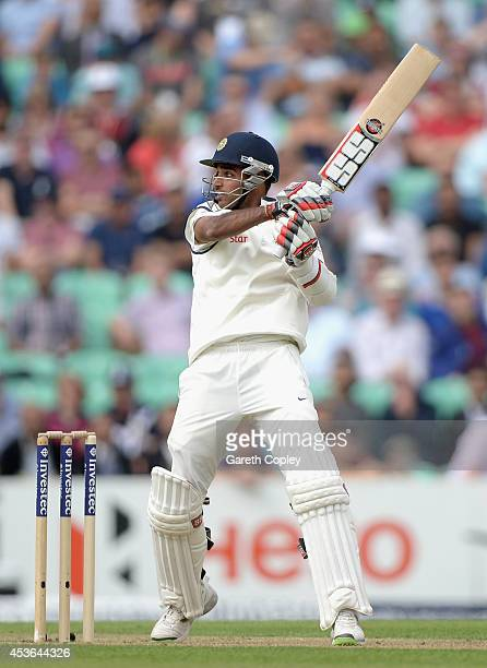 Bhuvneshwar Kumar of India bats during day one of 5th Investec Test match between England and India at The Kia Oval on August 15 2014 in London...