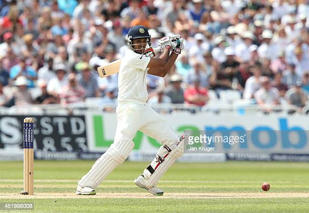 Bhuvneshwar Kumar of India bats during day two of the 1st Investec Test between England and India at Trent Bridge on July 10 2014 in Nottingham...