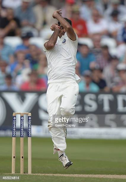 Bhuvneshwar Kumar of India bowls during day three of 1st Investec Test match between England and India at Trent Bridge on July 11 2014 in Nottingham...