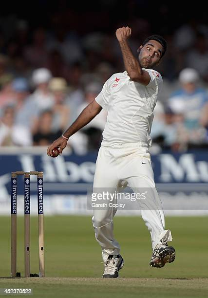 Bhuvneshwar Kumar of India bowls during day two of 2nd Investec Test match between England and India at Lord's Cricket Ground on July 18 2014 in...