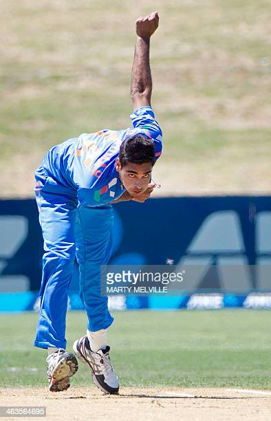 Bhuvneshwar Kumar of India bowls during the first international one day international cricket match between New Zealand and India at McLean Park in...