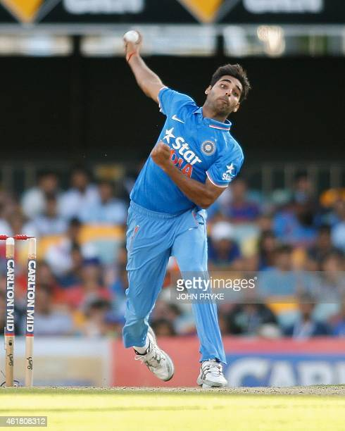 Bhuvneshwar Kumar of India bowls during the triseries oneday cricket match between England and India at the Gabba in Brisbane on January 20 2015 AFP...