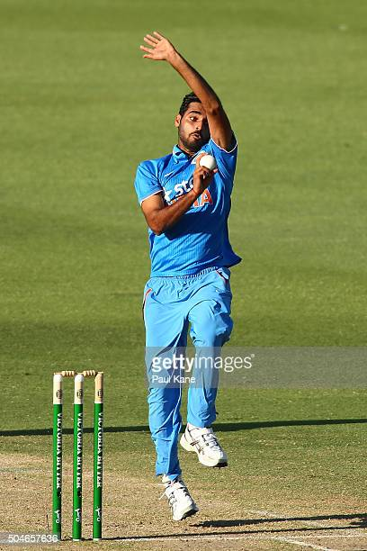 Bhuvneshwar Kumar of India bowls during the Victoria Bitter One Day International Series match between Australia and India at WACA on January 12 2016...