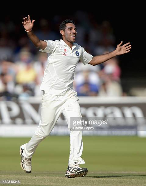 Bhuvneshwar Kumar of India celebrates dismissing Gary Ballance of England during day two of 2nd Investec Test match between England and India at...