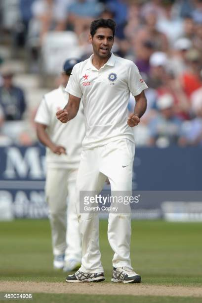 Bhuvneshwar Kumar of India celebrates dismissing Matt Prior of England during day three of 1st Investec Test match between England and India at Trent...