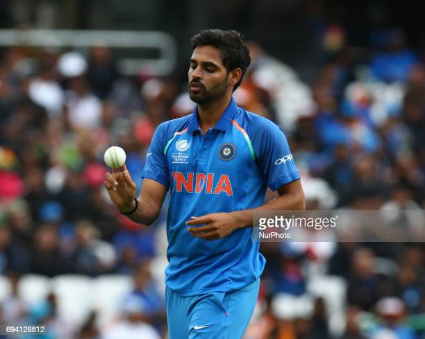 Bhuvneshwar Kumar of India during the ICC Champions Trophy match Group B between India and Sri Lanka at The Oval in London on June 08 2017