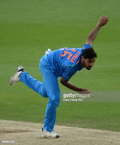 Bhuvneshwar Kumar of India during the ICC Champions Trophy Warmup match between India and Bangladesh at the Kia Oval on May 30 2017 in London England