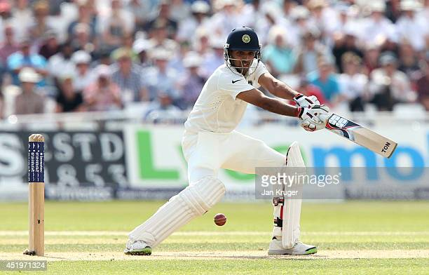 Bhuvneshwar Kumar of India hits out during day two of the 1st Investec Test between England and India at Trent Bridge on July 10 2014 in Nottingham...