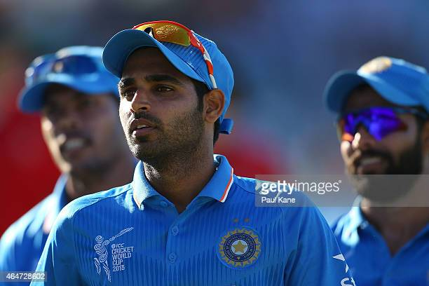 Bhuvneshwar Kumar of India walks from the field during the 2015 ICC Cricket World Cup match between India and the United Arab Emirates at WACA on...