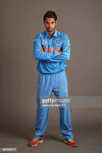 Bhuvneshwar Kumar poses during the India 2015 ICC Cricket World Cup Headshots Session at the Intercontinental on February 7 2015 in Adelaide Australia