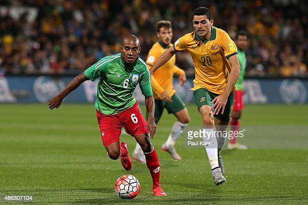 Bhuyan Jamal of Bangladesh controls the ball against Tom Rogic of Australia during the 2018 FIFA World Cup Qualification match between the Australian...