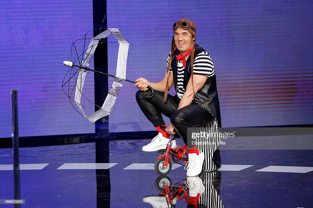 Biagio Izzo performs during the 'Si Puo Fare' Tv Show at RAI Studios on April 13 2015 in Rome Italy