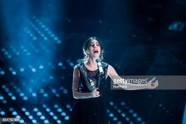Bianca Atzei attends the fourth night of the 67th Sanremo Festival 2017 at Teatro Ariston on February 10 2017 in Sanremo Italy
