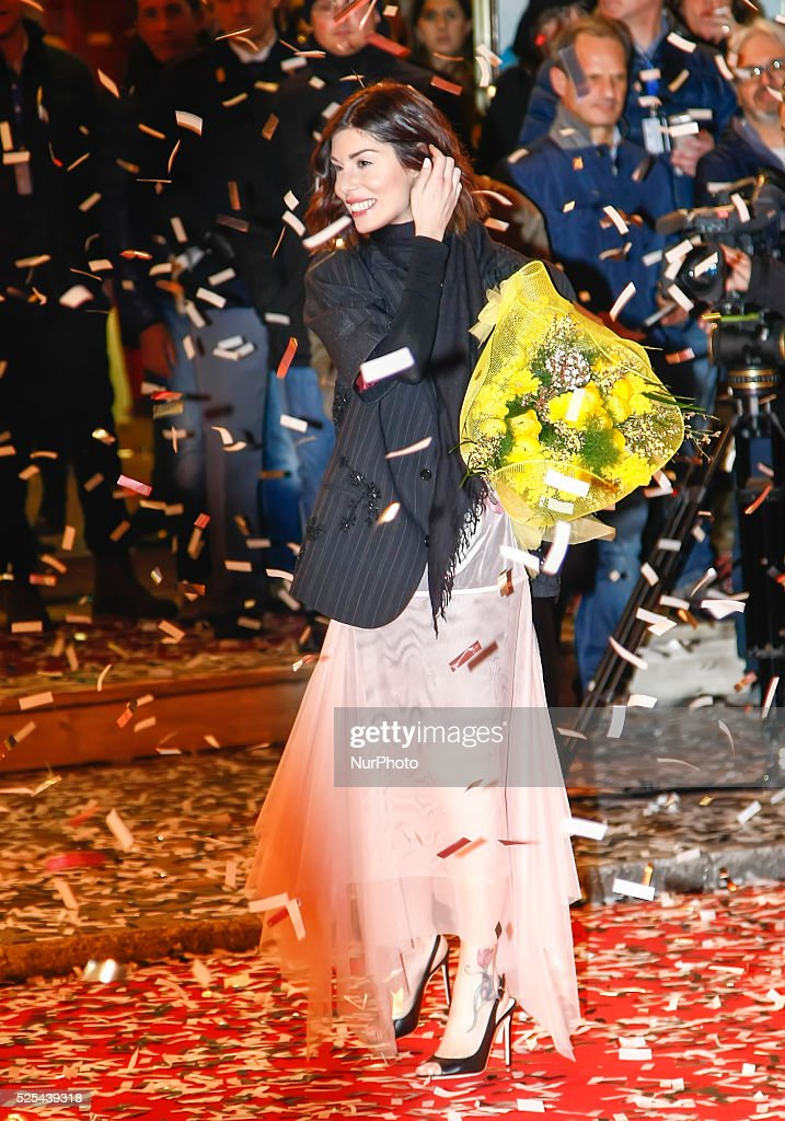 Bianca Atzei during the catwalk before the start of the sixtyfifth festival of Italian song of Sanremo on February 9 2015