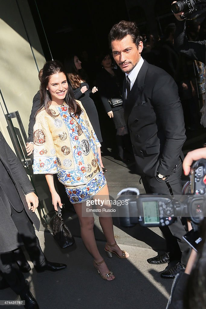 <a gi-track='captionPersonalityLinkClicked' href=/galleries/search?phrase=Bianca+Balti&family=editorial&specificpeople=2163098 ng-click='$event.stopPropagation()'>Bianca Balti</a> and <a gi-track='captionPersonalityLinkClicked' href=/galleries/search?phrase=David+Gandy&family=editorial&specificpeople=4377663 ng-click='$event.stopPropagation()'>David Gandy</a> sighting at the Dolce & Gabbana Fashion Show on day 5 of Milan Fashion Week Womenswear Autumn/Winter 2014 on February 23, 2014 in Milan, Italy