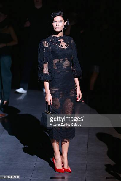 Bianca Balti attends the Dolce Gabbana show as part of Milan Fashion Week Womenswear Spring/Summer 2014 at on September 22 2013 in Milan Italy