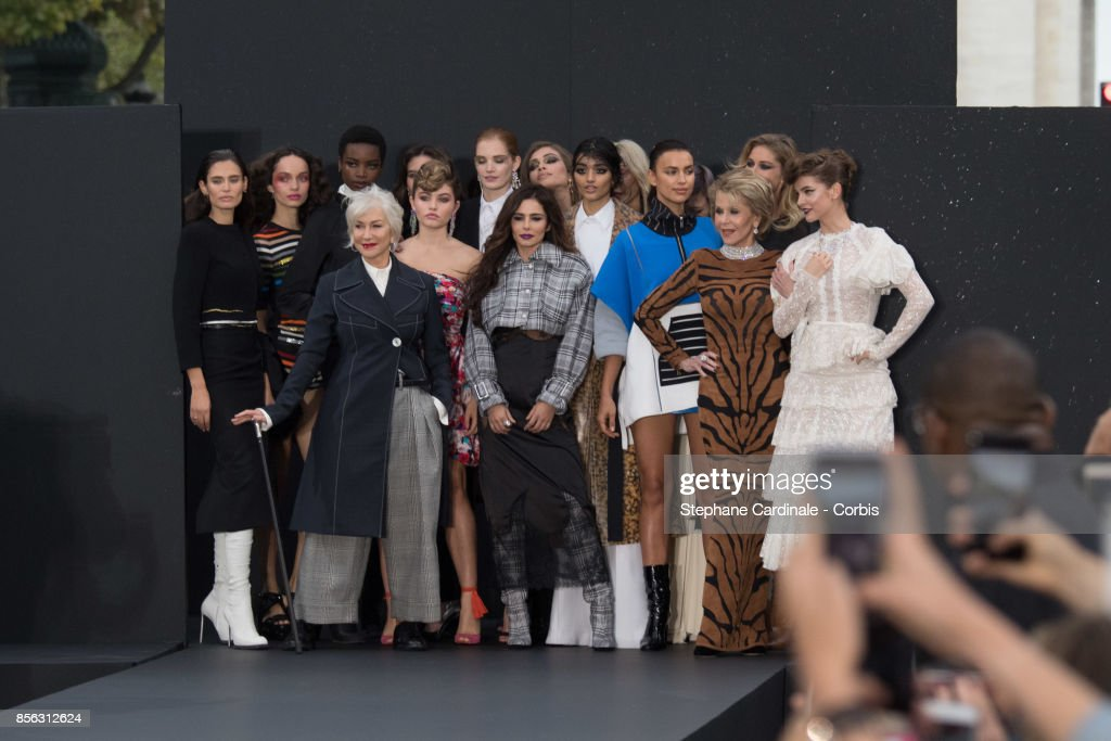 Bianca Balti, Helen Mirren, Thylane Blondeau, Cheryl Cole, Neelam Gill, Irina Shayk, Jane Fonda, Doutzen Kroes and Barbara Palvin are seen on the runway during the Le Defile L'Oreal Paris Spring Summer 2018 show as part of Paris Fashion Week at Avenue des Champs-Elysees on October 1, 2017 in Paris, France.