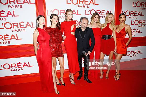 Bianca Balti Isabeli Fontana Karlie Kloss Cyril Chapuy Doutzen Kroes Natasha Poly and Irina Shayk attend the L'Oreal Red Obsession Party Photocall as...