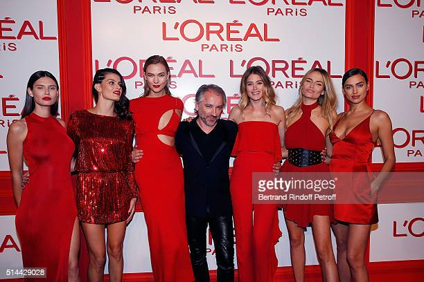 Bianca Balti Isabeli Fontana Karlie Kloss Cyril Chapuy Doutzen Kroes Natasha Poly and Irina Shayk attend the L'Oreal Red Obsession Party as part of...