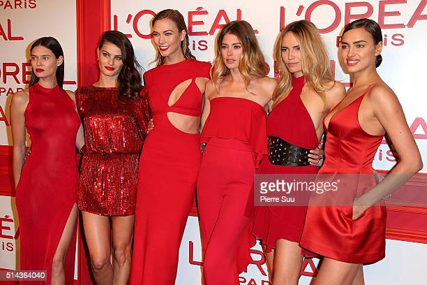Bianca Balti Isabeli Fontana Karlie Kloss Doutzen Kroes Natasha Poly and Irina Shayk attend the L'Oreal Red Obsession Party Photocall as part of the...