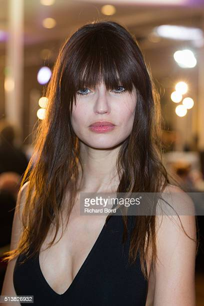 Bianca Balti poses backstage before the Emanuel Ungaro show as part of the Paris Fashion Week Womenswear Fall/Winter 2016/2017 on March 4 2016 in...