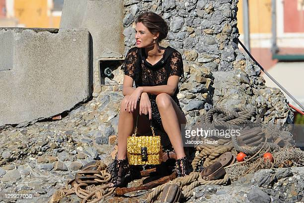 Bianca Balti sighting on the set of a Dolce Gabbana commercial on October 22 2011 in Portofino Italy