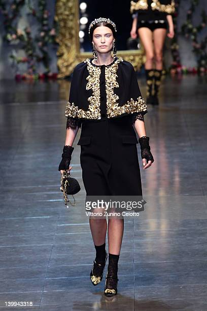 Bianca Balti walks the runway at the Dolce Gabbana Autumn/Winter 2012/2013 fashion show as part of Milan Womenswear Fashion Week on February 26 2012...
