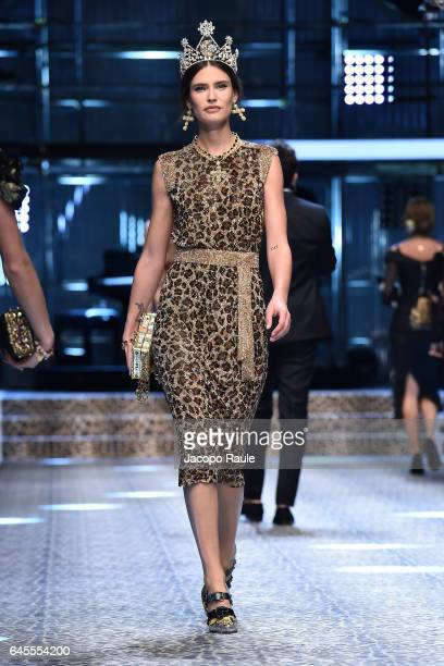 Bianca Balti walks the runway at the Dolce Gabbana show during Milan Fashion Week Fall/Winter 2017/18 on February 26 2017 in Milan Italy