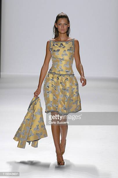 Bianca Balti wearing Bill Blass Spring 2006 during Olympus Fashion Week Spring 2006 Bill Blass Runway at Bryant Park in New York City New York United...