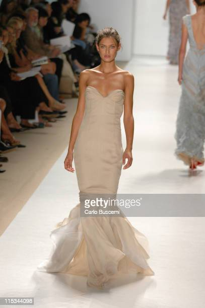 Bianca Balti wearing J Mendel Spring 2006 during Olympus Fashion Week Spring 2006 J Mendel Runway at Bryant Park in New York City New York United...