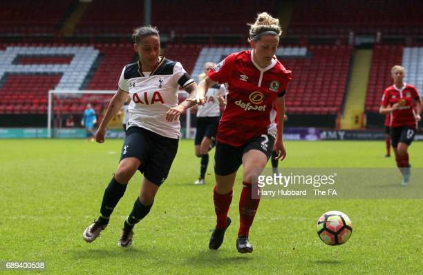 Bianca Baptiste of Tottenham and Kelsey Pearson of Blackburn in action during the FA Women's Premier League Playoff Final between Tottenham Hotspur...