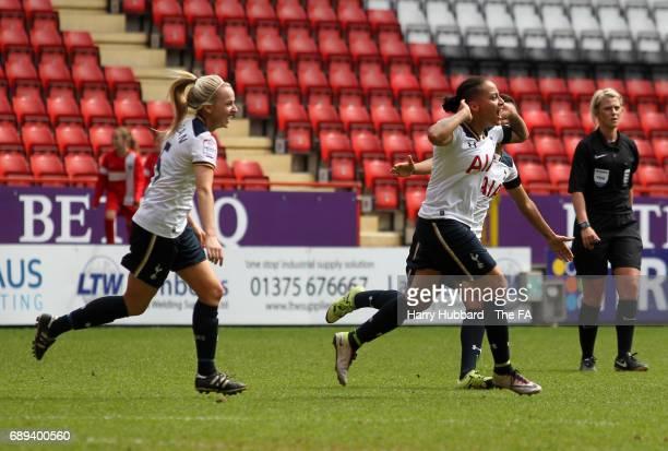 Bianca Baptiste of Tottenham celebrates scoring her first goal during the FA Women's Premier League Playoff Final between Tottenham Hotspur Ladies...