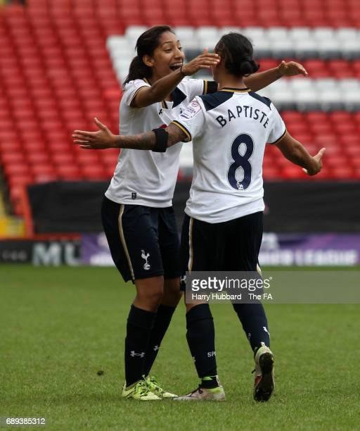 Bianca Baptiste of Tottenham celebrates scoring her second goal during the FA Women's Premier League Playoff Final between Tottenham Hotspur Ladies...
