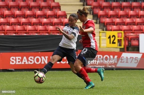 Bianca Baptiste of Tottenham scores her first goal during the FA Women's Premier League Playoff Final between Tottenham Hotspur Ladies and Blackburn...