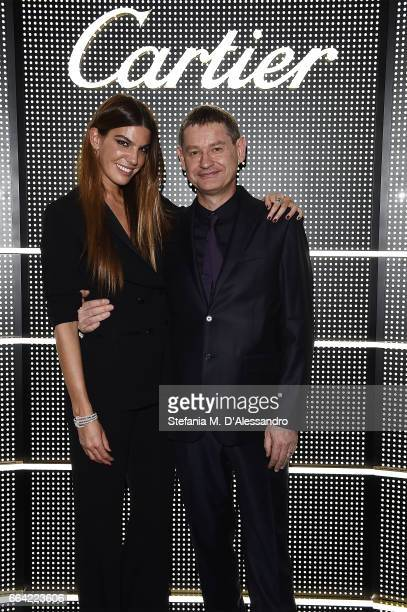 Bianca Brandoli DÕAdda and President and CEO Cartier International Cyrille Vigneron attend Cartier Garage Cocktail Party during Milan Design Week...