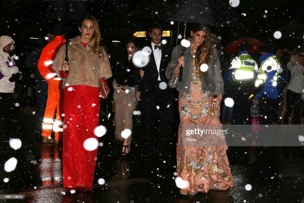 Bianca Brandolini attends the wedding of Andrea Casiraghi And Tatiana Santo Domingo at the Rougemont church on February 1, 2014 in Gstaad, Switzerland.