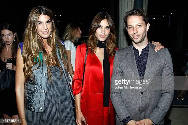 Bianca Brandolini d'Adda Alexa Chung and Derek Blasberg attend the Miu Miu Resort Collection 2015 at Palais d'Iena on July 5 2014 in Paris France