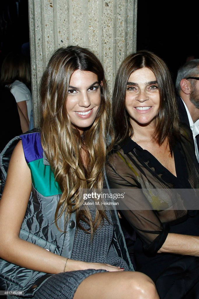 Bianca Brandolini d'Adda (L) and <a gi-track='captionPersonalityLinkClicked' href=/galleries/search?phrase=Carine+Roitfeld&family=editorial&specificpeople=240177 ng-click='$event.stopPropagation()'>Carine Roitfeld</a> attends the Miu Miu Resort Collection 2015 at Palais d'Iena on July 5, 2014 in Paris, France.