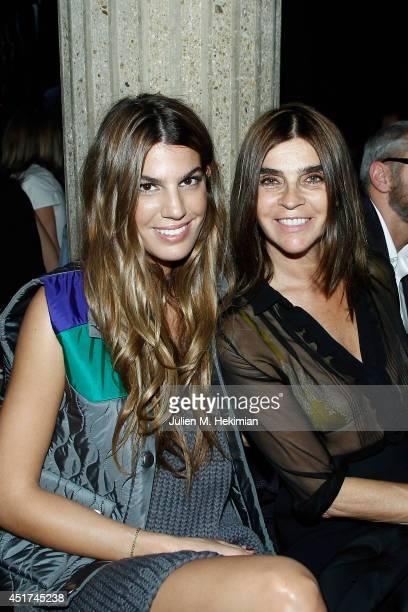 Bianca Brandolini d'Adda and Carine Roitfeld attends the Miu Miu Resort Collection 2015 at Palais d'Iena on July 5 2014 in Paris France