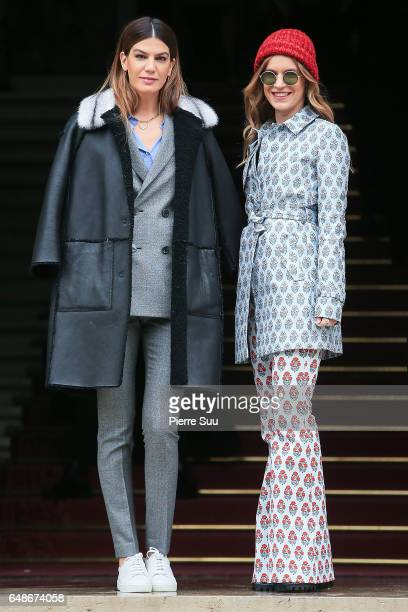 Bianca Brandolini d'Adda and Eugenie Niarchos arrive at the Giambattista Valli show as part of the Paris Fashion Week Womenswear Fall/Winter...