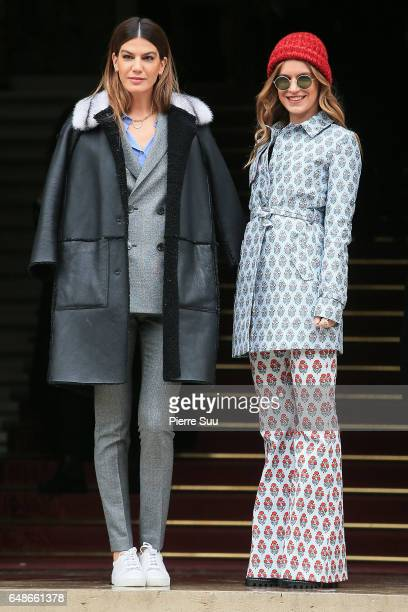 Bianca Brandolini d'Adda and Eugenie Niarchos arrives at the Giambattista Valli show as part of the Paris Fashion Week Womenswear Fall/Winter...