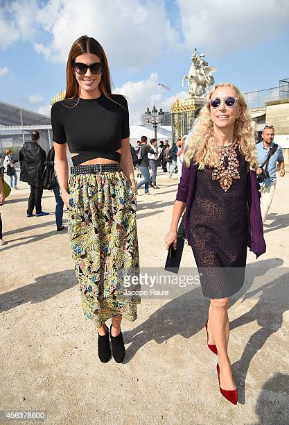 Bianca Brandolini d'Adda and Franca Sozzani arrive at the Valentino show during Paris Fashion Week Womenswear SS 2015 on September 30 2014 in Paris...