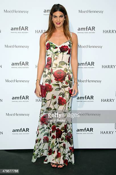 Bianca Brandolini dÕAdda attends the amfAR dinner at the Pavillon LeDoyen during the Paris Fashion Week Haute Couture on July 5 2015 in Paris France