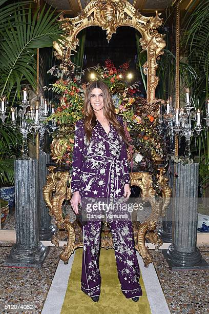 Bianca Brandolini D'Adda attends the Roberto Cavalli show during Milan Fashion Week Fall/Winter 2016/17 on February 24 2016 in Milan Italy