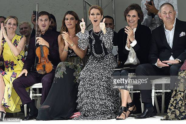 Bianca Brandolini D'Adda Celine Dion and Ines de La Fressange attend the Giambattista Valli Haute Couture Fall/Winter 20162017 show as part of Paris...