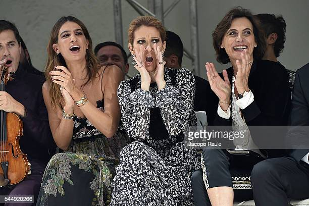 Bianca Brandolini D'Adda Celine Dion and Ines de La Fressange attend the Giambattista Valli Haute Couture Fall/Winter 20162017 show as part of Paris...
