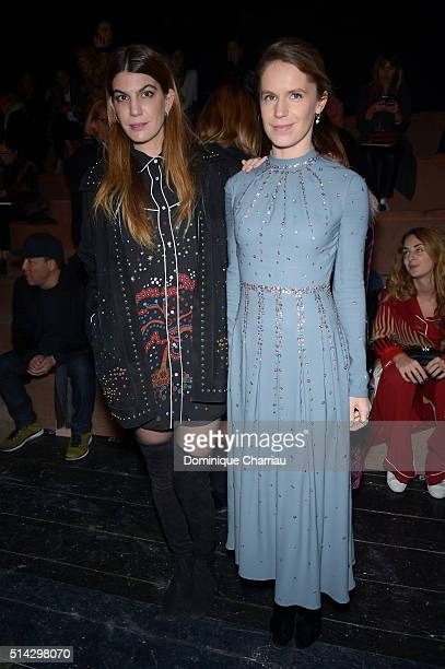 Bianca Brandolini d'Addda and Eugenie Niarchos attend the Valentino show as part of the Paris Fashion Week Womenswear Fall/Winter 2016/2017 on March...