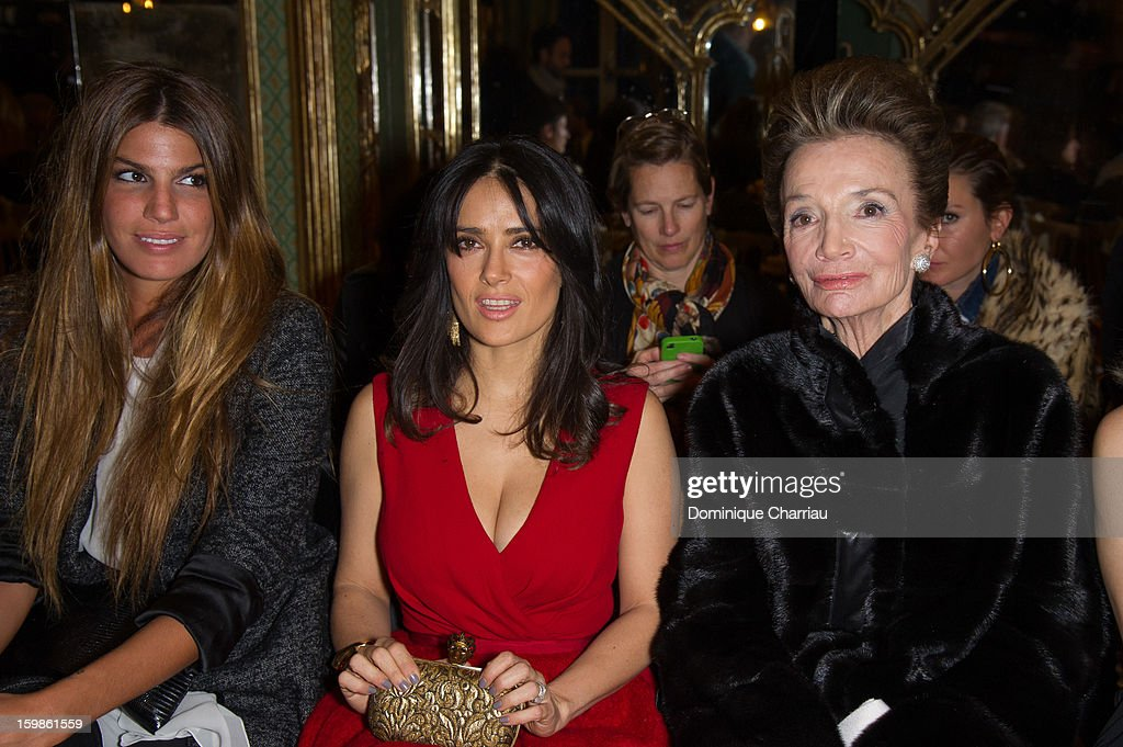 Bianca Brandolini, <a gi-track='captionPersonalityLinkClicked' href=/galleries/search?phrase=Salma+Hayek&family=editorial&specificpeople=201844 ng-click='$event.stopPropagation()'>Salma Hayek</a> and <a gi-track='captionPersonalityLinkClicked' href=/galleries/search?phrase=Lee+Radziwill&family=editorial&specificpeople=218138 ng-click='$event.stopPropagation()'>Lee Radziwill</a> attend the Giambattista Valli Spring/Summer 2013 Haute-Couture show as part of Paris Fashion Week at on January 21, 2013 in Paris, France.